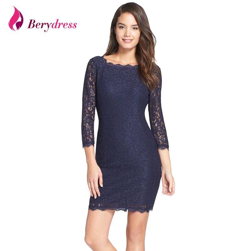 Berydress nouvelle mode femmes robe Sexy moulante gaine 3/4 manches pleine fermeture éclair dos vente chaude courte dentelle robes 2017 S-XXXL