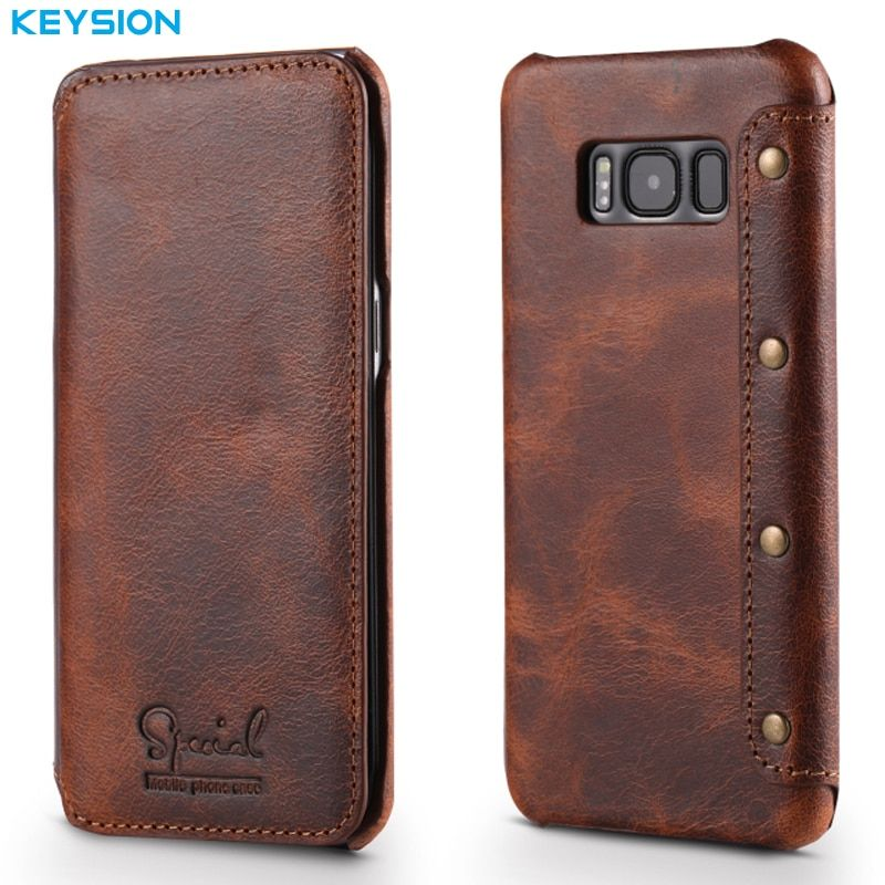 KEYSION Case For Samsung Galaxy S8 S8 Plus Genuine Real Leather Wallet Full-Body Protective Cover Shell Skin For G950 G955