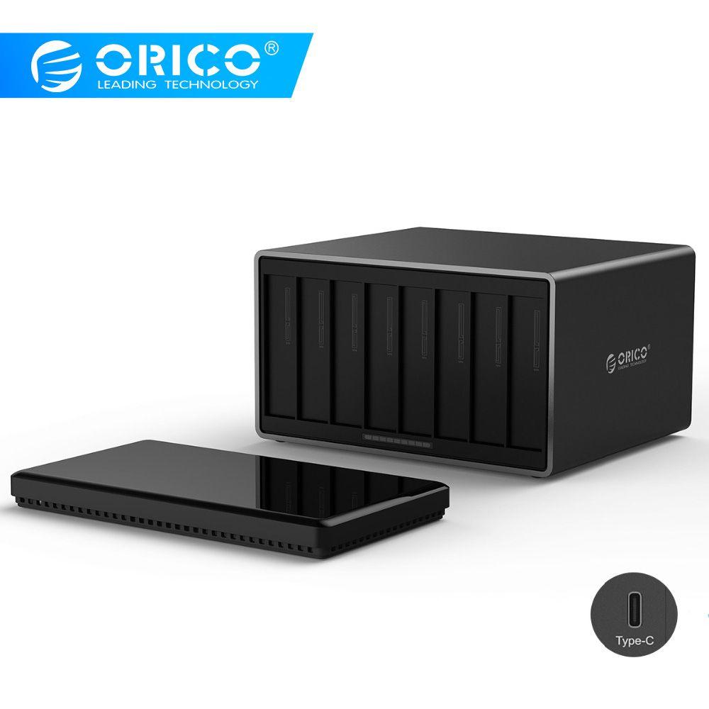 ORICO NS800C3 8 Bay Typ-C Festplatte Dock Unterstützung 80 TB speicher USB3.1 5 Gbps UASP mit 12 V Adapter Werkzeug Kostenloser HDD Gehäuse