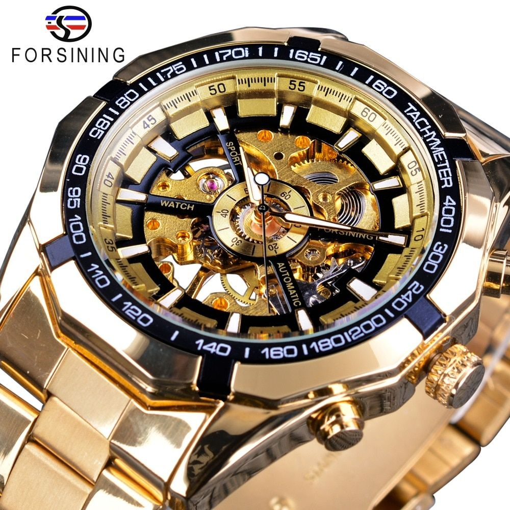 Forsining Classic Sport Racing Gold Steel Royal Men Watch Top Brand Luxury Creative Skeleton Transparent Mechanical Watch Clock