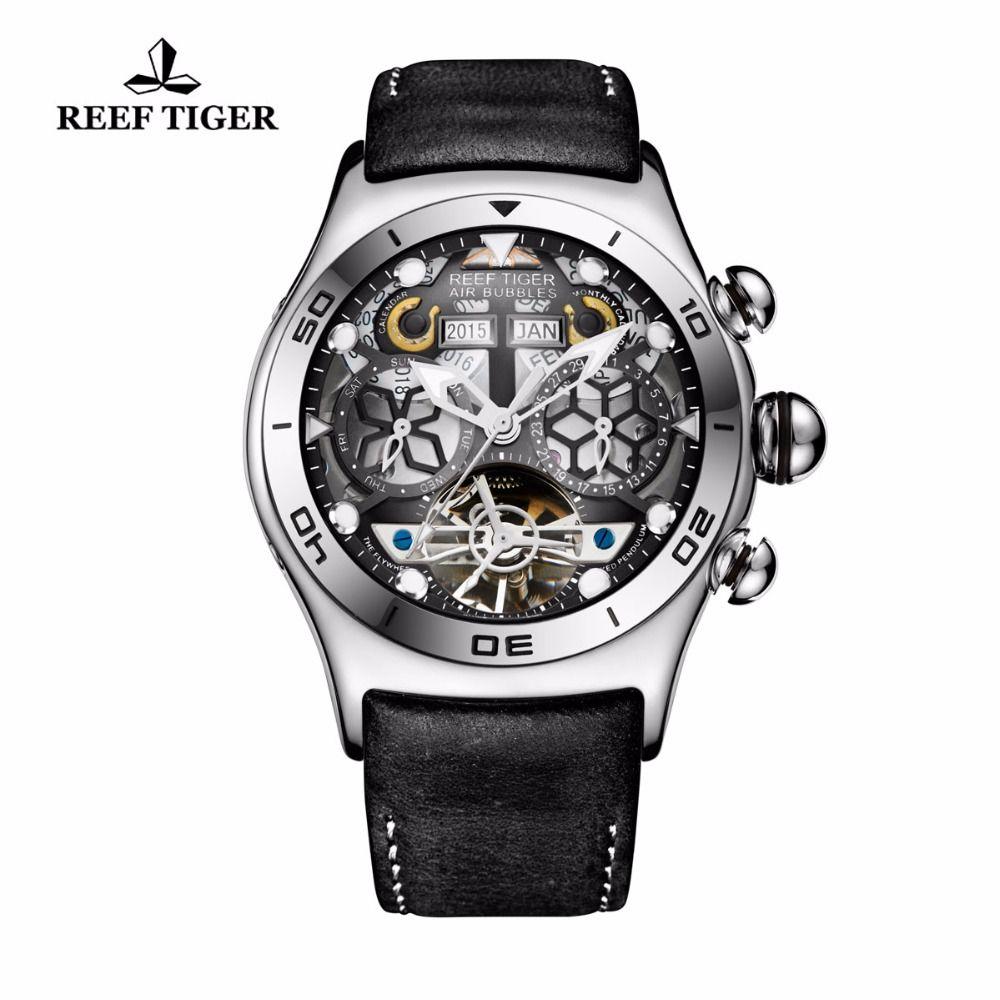 Reef Tiger/RT Mens Sport Watches Big Skeleton Dial Luminous Tourbillon Watch Year Month Calendar Steel Automatic Watch RGA703