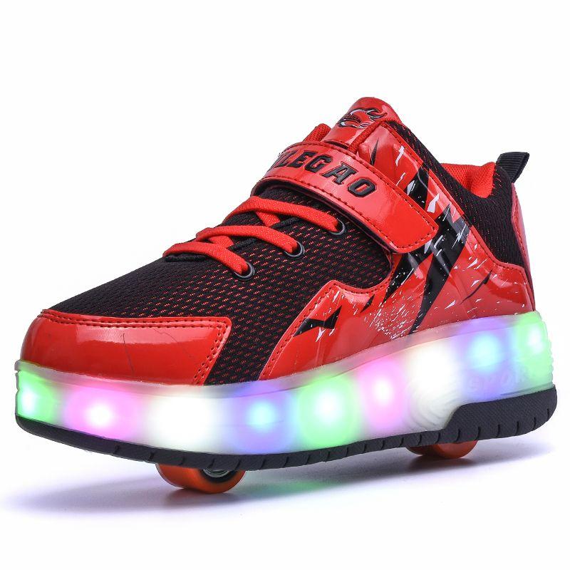 Niños Niñas Doble Rueda Patines Zapatillas Transpirable Brillante LLEVÓ la Luz de Zapatos de Los Niños Pequeños/Niños Grandes Intermitente Bordo 30-39