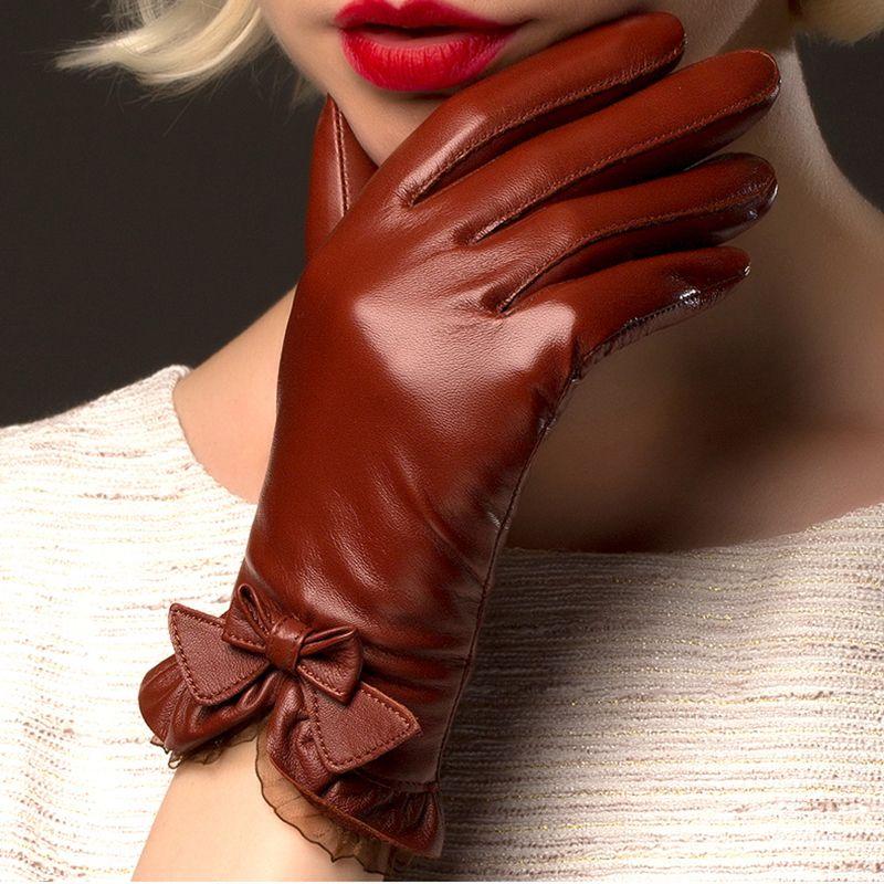 BOOUNI Genuine Sheepskin Gloves 2018 Fashion Wrist Lace Bow Solid Women Leather Glove <font><b>Thermal</b></font> Winter Driving Keep Warm 176