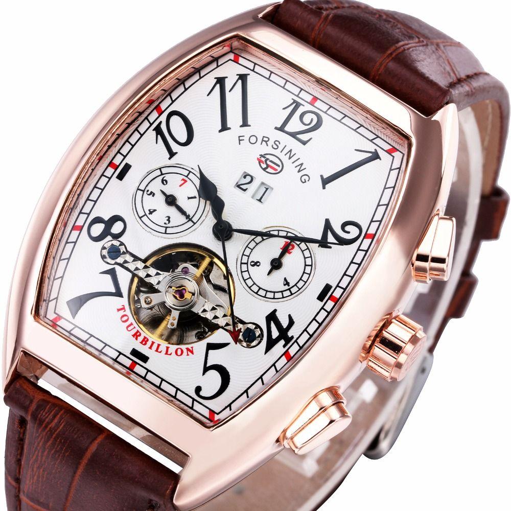2018 Top Brand Men Women Auto Mechanical Watch Multifunction Tourbillon Couple Wristwatch Leather Band Calendar Tonneau Sub-dial