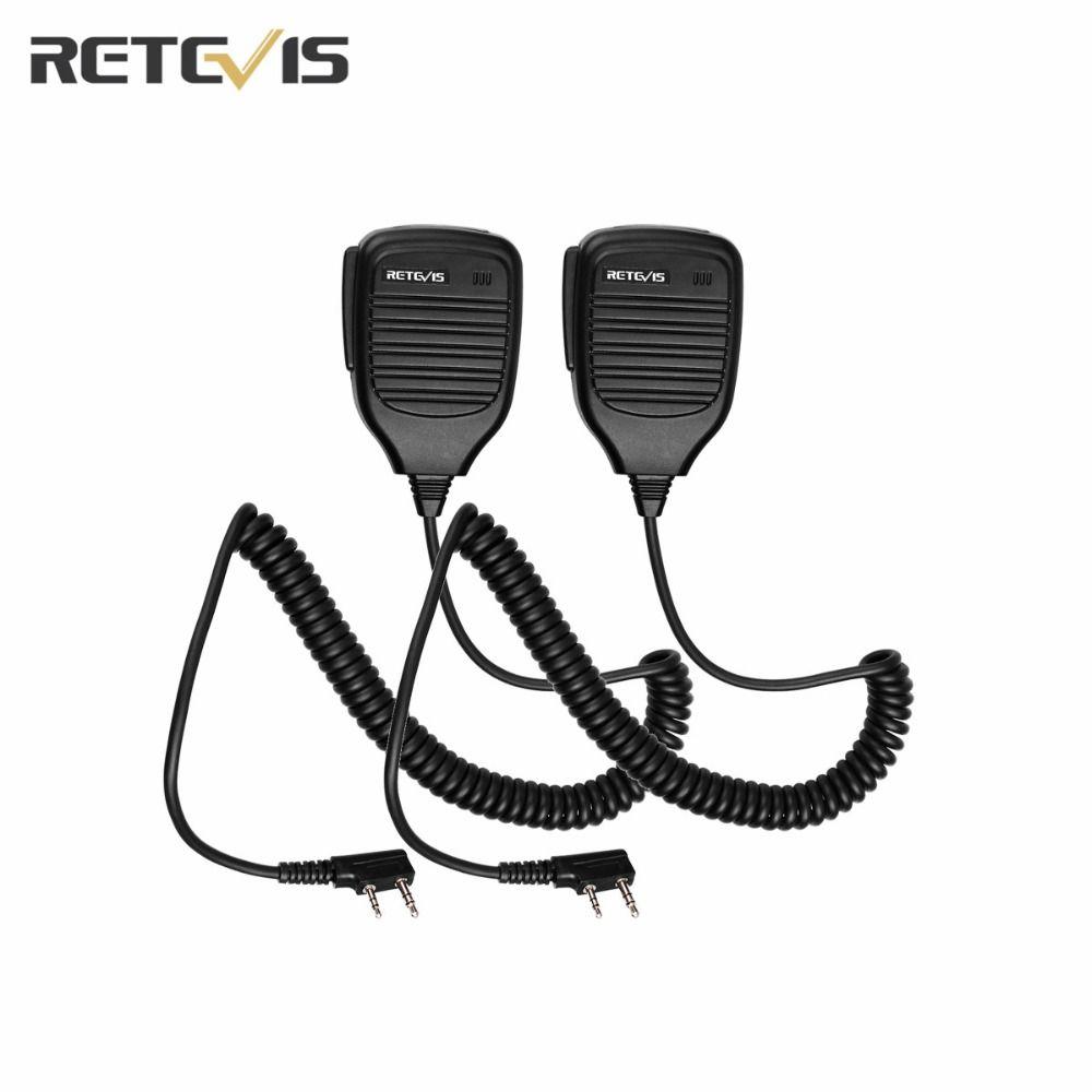 2X Microphone 2Pin PTT Handheld Shoulder Speaker Mic Walkie-Talkie Accessories Retevis RT-5R H777 For Baofeng UV-5R UV5R