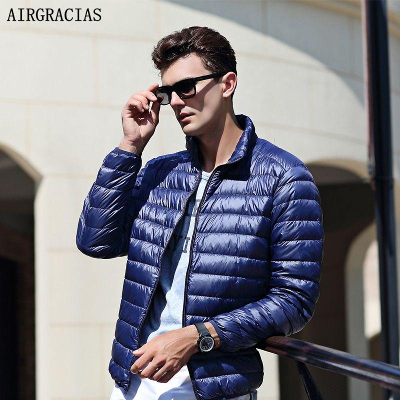AIRGRACIAS 2018 Top Quality Men's Warm Jacket Light Thin 90% White Duck Down Jacket Men Parka Casual Outer coat Doudoune Homme