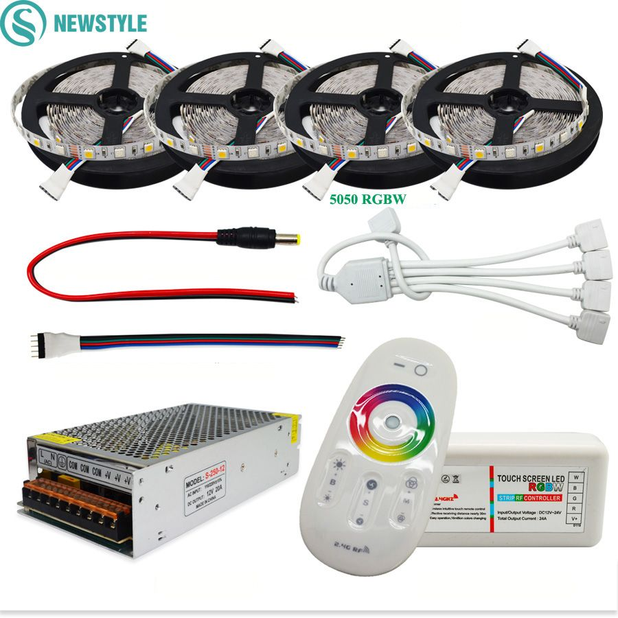 <font><b>DC12V</b></font> 5050 LED Strip Waterproof RGB RGBW Led Light Flexible Tape+Touch Remote Controller +12V Power adapter Kit 30M 20M 10M 5M