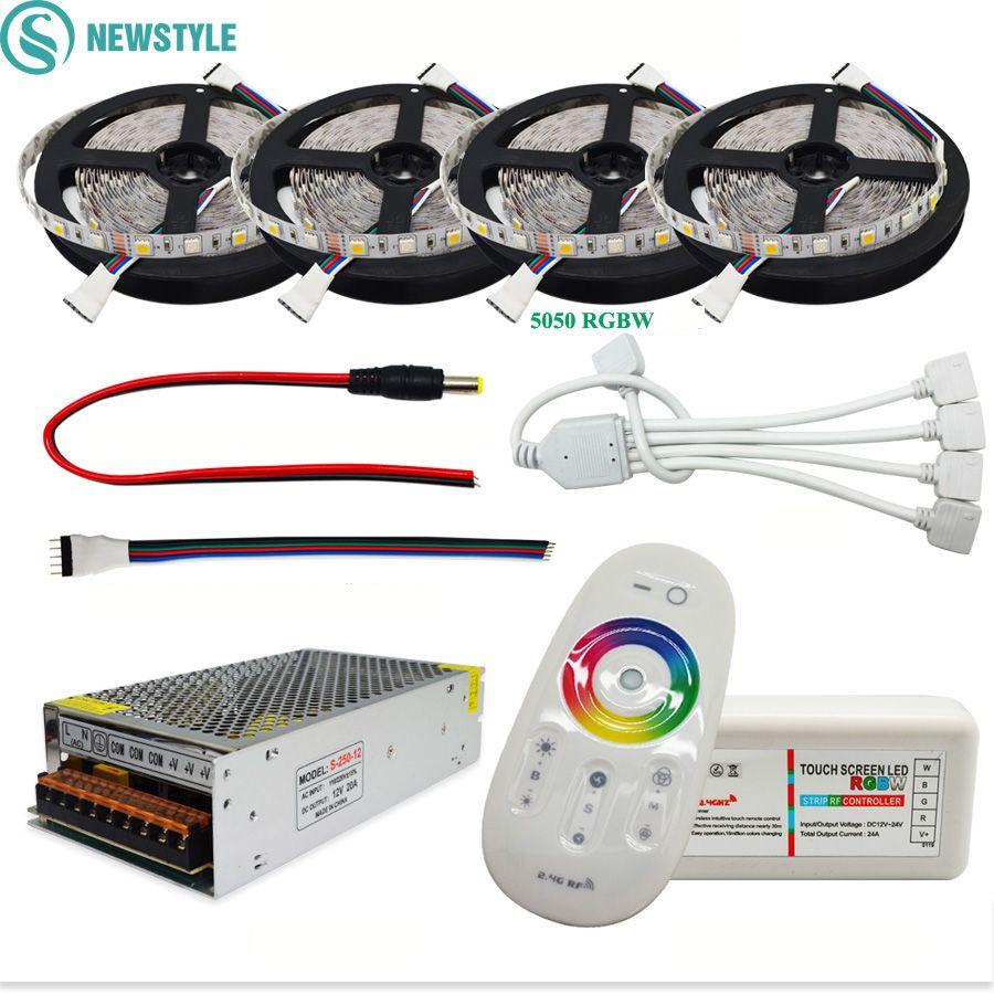DC12V 5050 bande de LED étanche RGB RGBW lumière LED bande Flexible + télécommande tactile + Kit adaptateur d'alimentation 12 V 30 M 20 M 10 M 5 M