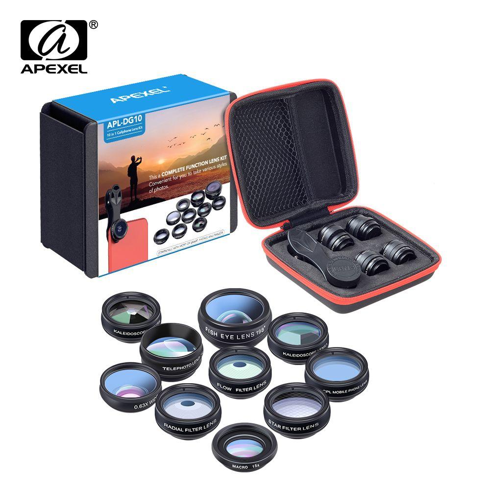 Kit d'objectif téléphone APEXEL universel 10 en 1 Fisheye objectif macro grand Angle filtre CPL kaléidoscope + 2X lentille télescope pour smartphone