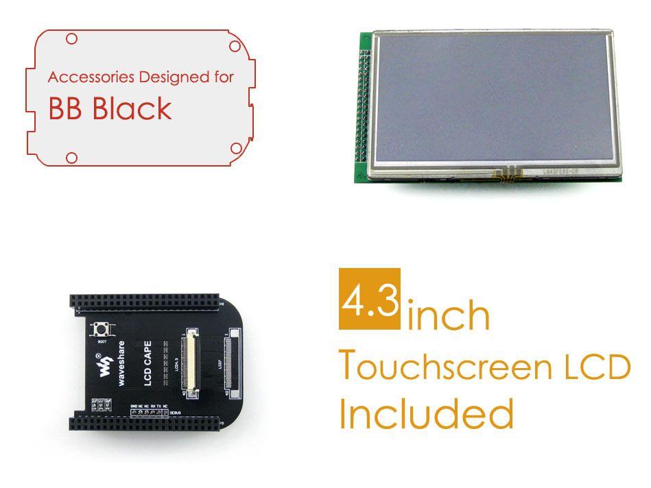 BeagleBone noir accessoires paquet C = LCD carte de connexion Cape + 4.3 pouces écran LCD + câbles pour Kit de développement de bras Cortex-A8