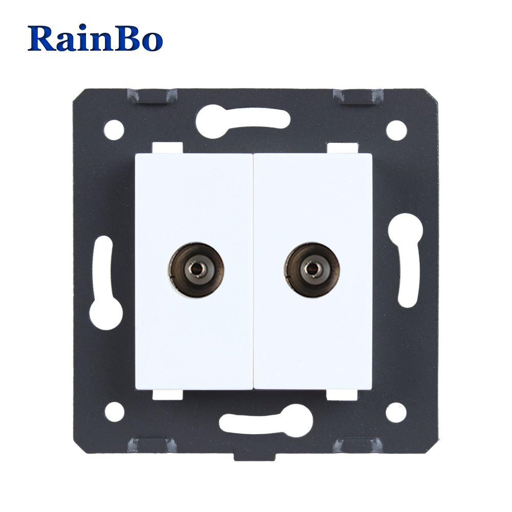 RainBo 2TV socket Parts White Plastic Materials DIY Accessory Function Key wall TV socket EU Standard A82TVW/B