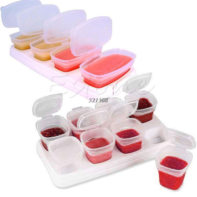 8 шт. Детские Блок Комплект Еда контейнеры росток Чашки многоразовые stackable хранения Чашки с подносом a20071