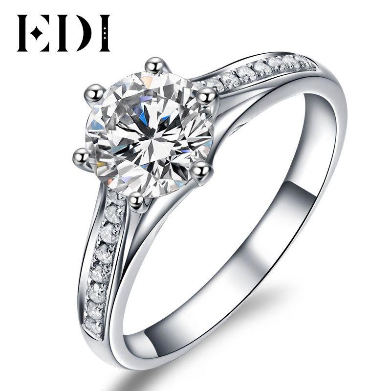 Einzigartige Valentine Geschenk, Um Ihre Liebe 1 Carat D/VVS Runde Brillant Moissanite Diamant 10k Weiß Gold Hochzeit engagement Ring