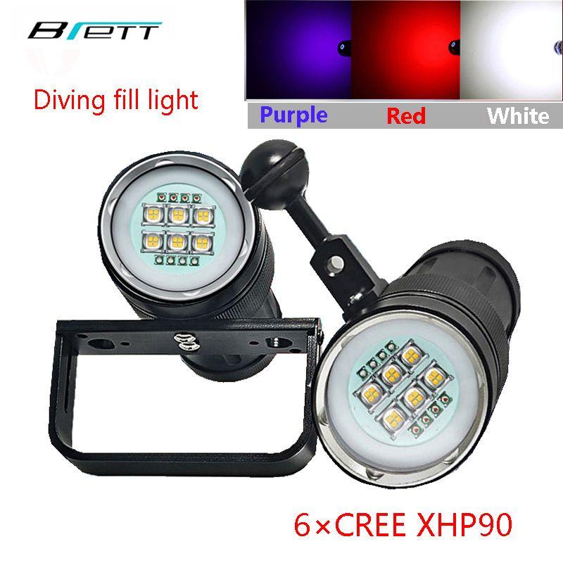 uv flashlight diving light 6 XHP90 +4 Red+4 Purple LED photography fill light Diving torch led