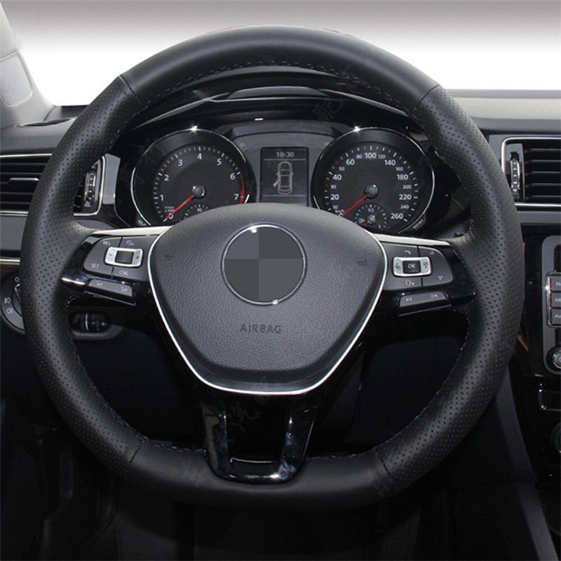 Hand-stitched Black Leather Steering Wheel Cover for Volkswagen VW Golf 7 Mk7 New Polo Jetta Passat B8