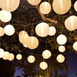 Venta caliente (10 cm-40 cm) beige chino ronda Linternas para boda hogar colgante lámparas Festival decoración suministros