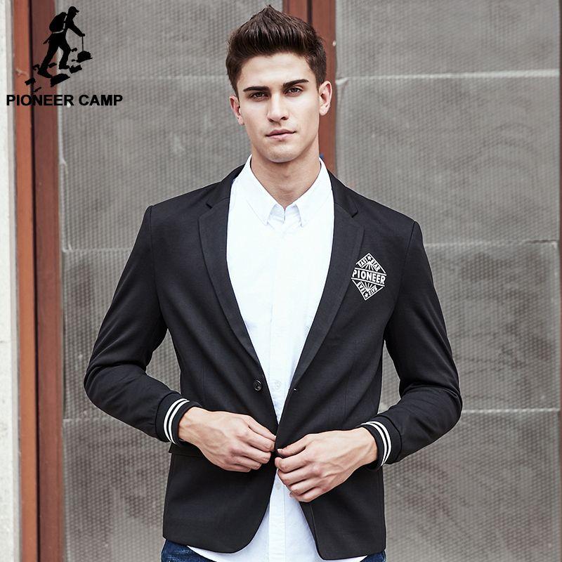 Пионерский лагерь новый стиль костюм пиджак мужчины брендовая одежда наивысшего качества черный мужской костюм куртка мода Slim Fit Мужчины к...