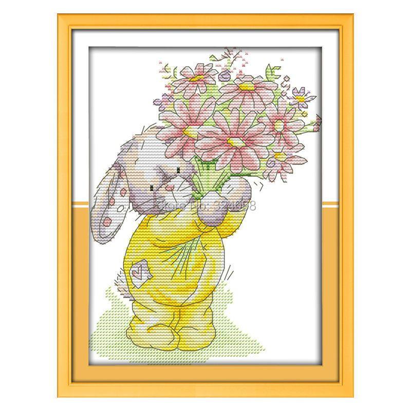 Couture en gros, point, point de croix 11CT 14CT, ensembles pour Kits de broderie, lapin présent un Bouquet (2) point de croix compté