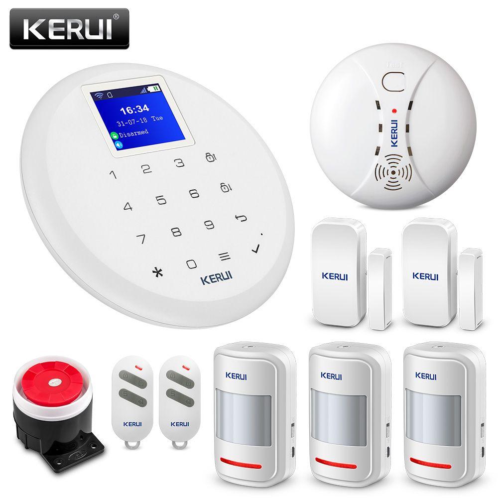 KERUI G17 Home Alarm GSM Security Alarm System 1.7 Inch TFT Touch Screen Wireless Motion Detector Smoke Detector Burglar Alert