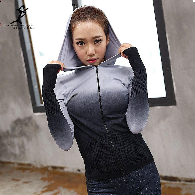 Frauen Farbverlauf Yoga Hoodie Heißer Mädchen Yoga Und Laufjacke Neue Weibliche Sporttraining Oberbekleidung Gym Sport