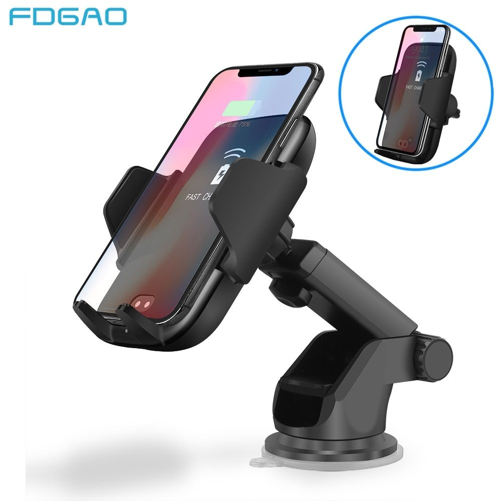 Fdgao Car Automatic Infrared Sensor Qi Fast Wireless Car Phone Charger for IPhone X 8 Plus XS Max XR Samsung S9 S8 Plus Note 8 9