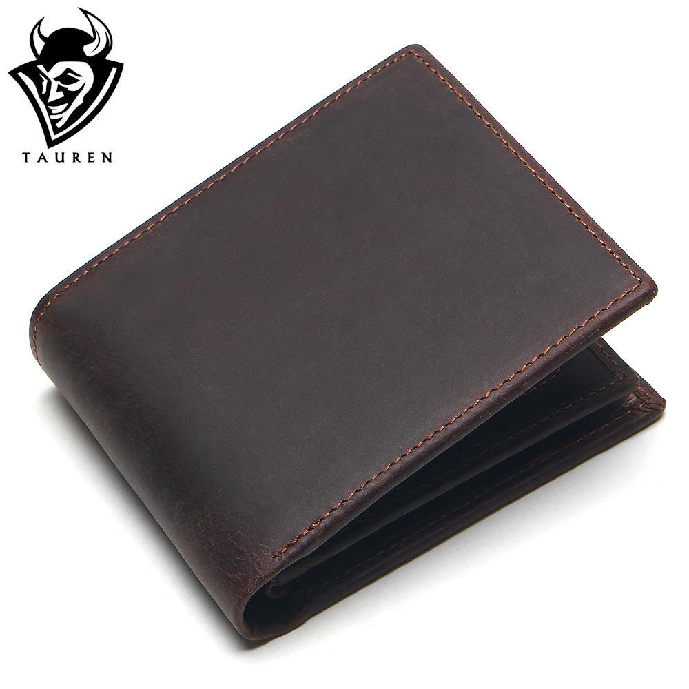 TAURE 100% Genuine Leather Wallet Men Purses Crazy Horse Wallets Vintage Top Quality Lether Wallet Carteira Masculina Cardholder