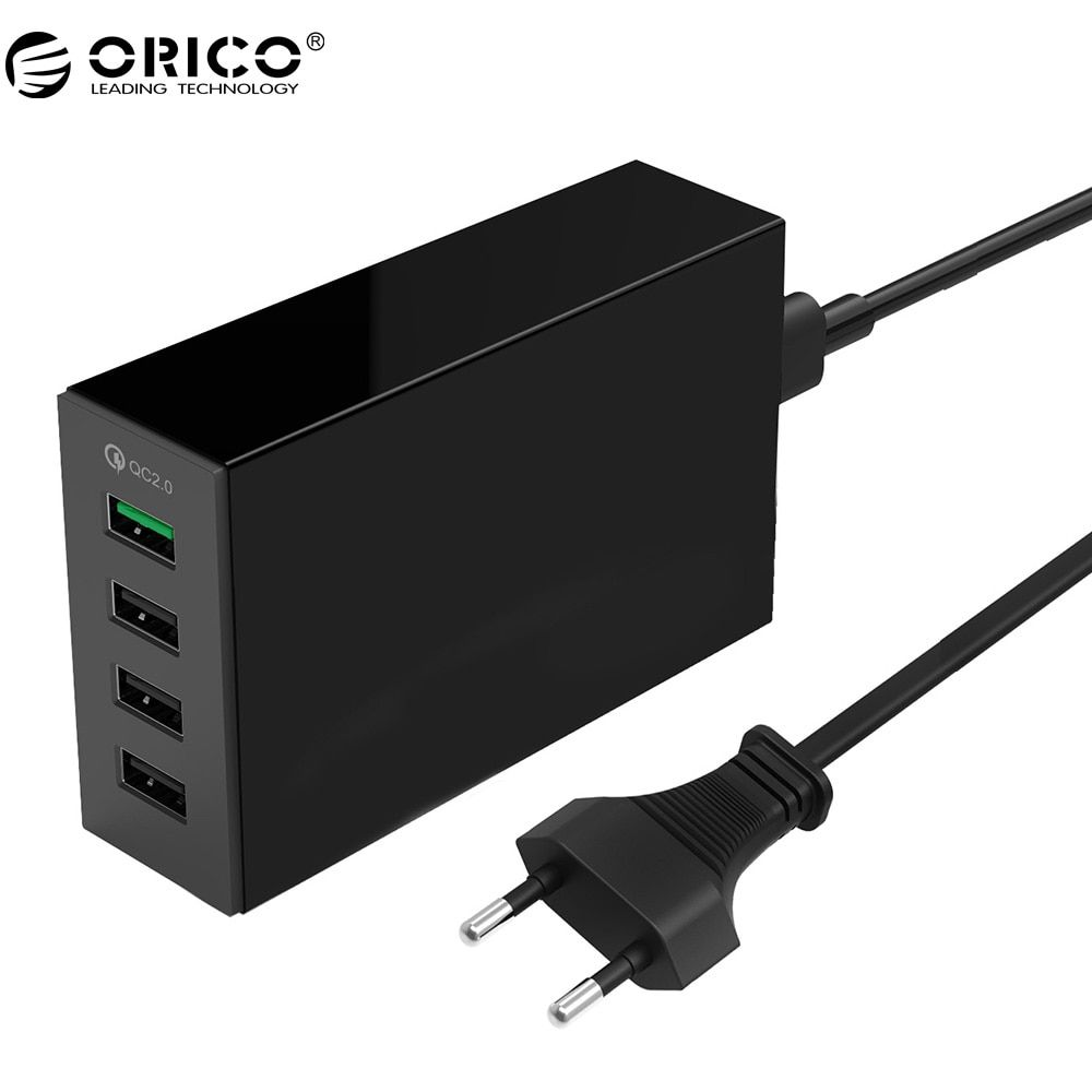 ORICO QSL-4U QC 2.0 Quick Charger QC2.0*1 5V2.4A*3 Max Output 4 Ports USB Desktop Charger For Phone
