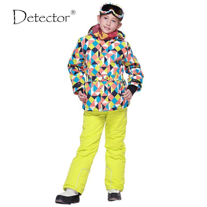 Детектор зима Обувь для девочек лыжный Наборы для ухода за кожей ветрозащитная куртка с капюшоном Брюки для девочек спортивные костюмы для ...