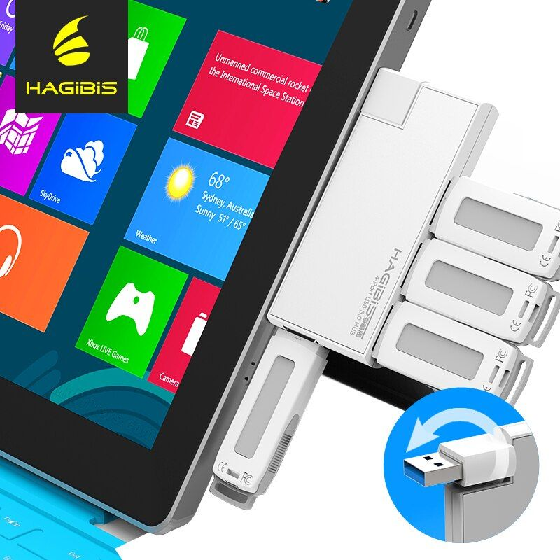 Hagibis 180 Grad-umdrehung USB 3.0 HUB Super Speed Externe 4 Port Usb Splitter Anschluss für Macbook Air Laptop PC Computer Usb Hub