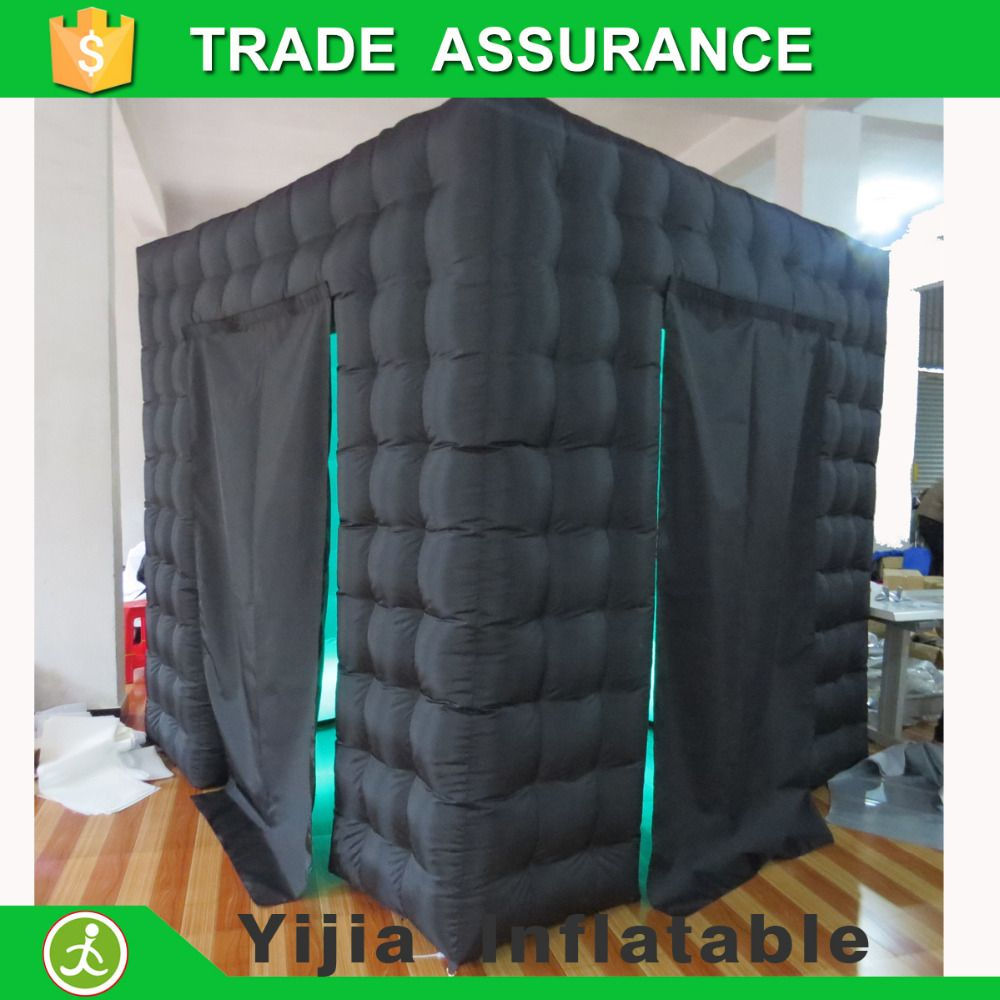 black outside and white inside inflatable photobooth cube tent for sale