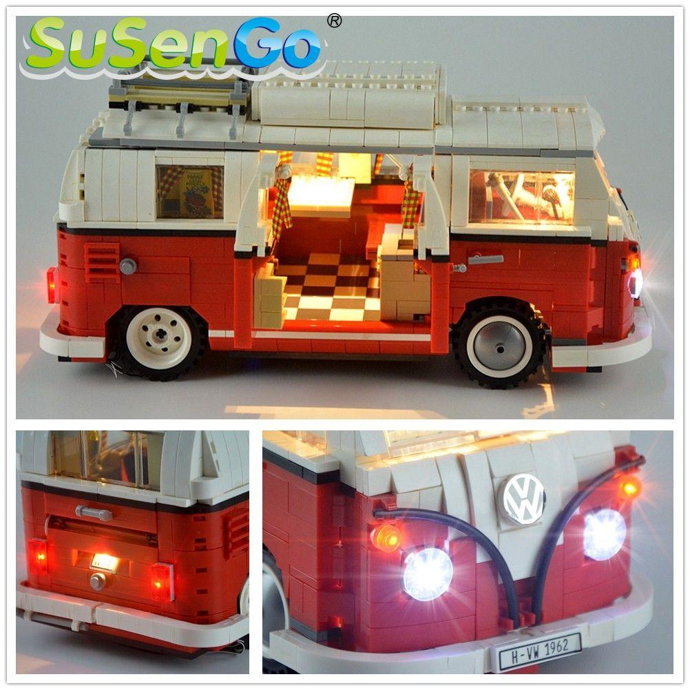 SuSenGo kit d'éclairage LED (lumière seulement) pour créateur Volkswagen T1 ensemble de lumière de camping-car Compatible avec 10220 et 21001