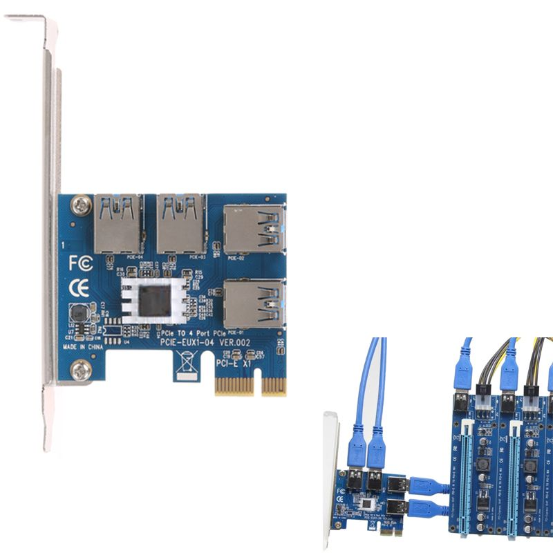 PCI-E PCI Express Riser Card expand card board PCIE 1 to 4 USB Adapter Card 1x to 4-port 16x adaptor for Bitcoin Mining Machine