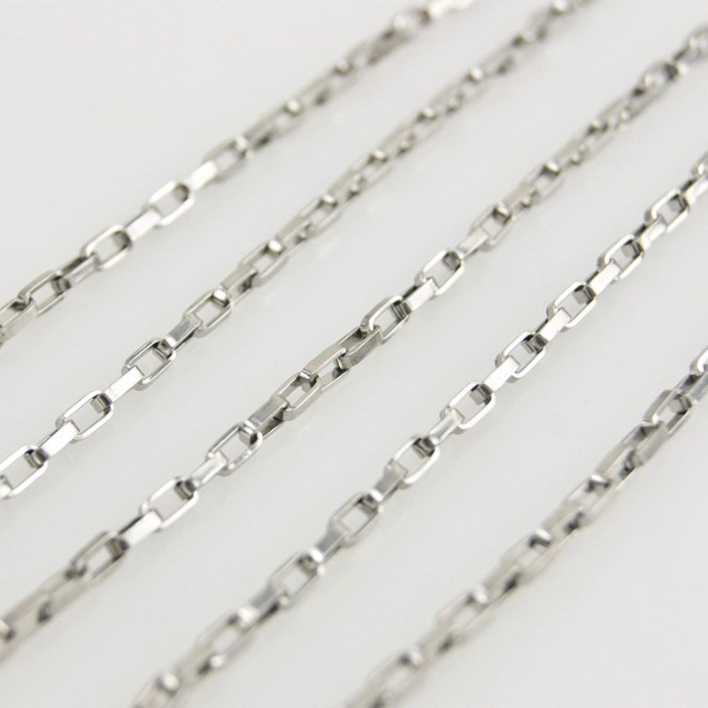 100meters in a roll necklace 1.5mm long box silver chains FASHION fittings Stainless Steel High Quality Wholesale 1.5longbox