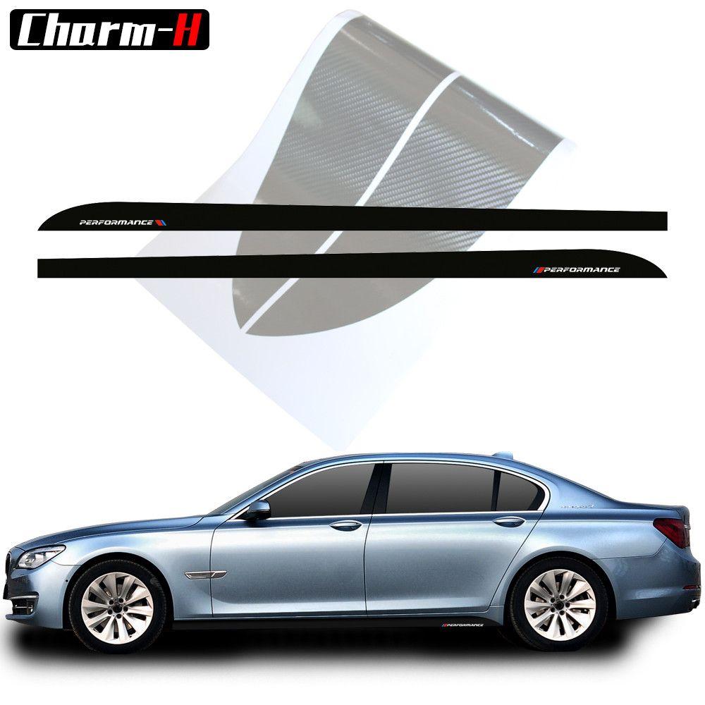 2 pcs Car Styling M Performance Côté Jupe Rayures Décalque de Vinyle Autocollants Pour BMW 5 Série F10 F11 7 Série f01 F02 Accessoires