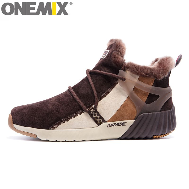 ONEMIX Waterproof Snow Boots Women Sneaker Men Trainers Walking Outdoor Athletic Comfortable Warm Wool Shoes