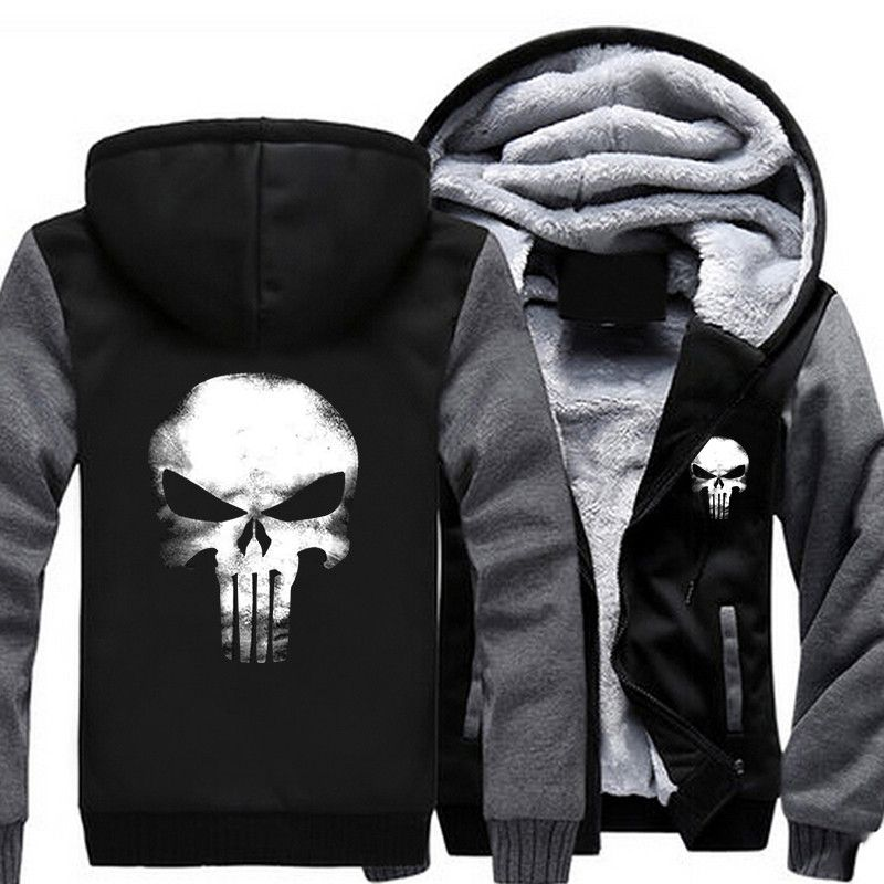USA SZIE Punisher Skull Men's Jackets Winter Fleece Zipper Thicken Fleece Male Coat Men Hooded Hoodies Sweatshirts Outerwear