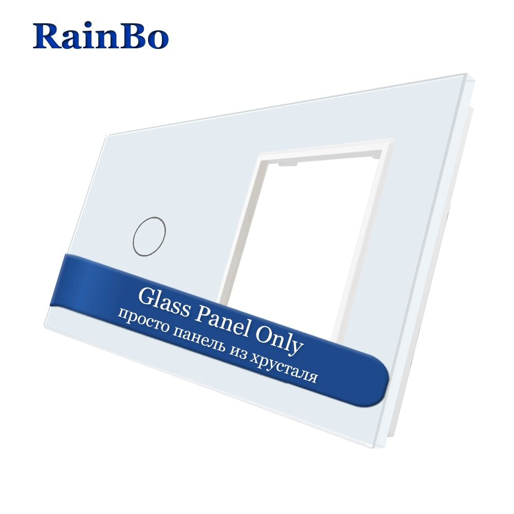 RainBo Luxury-Crystal Glass-Panel 2Frame-1gang touch-wall switch-socket-hole EU for-DIY-Accessories A2918W1