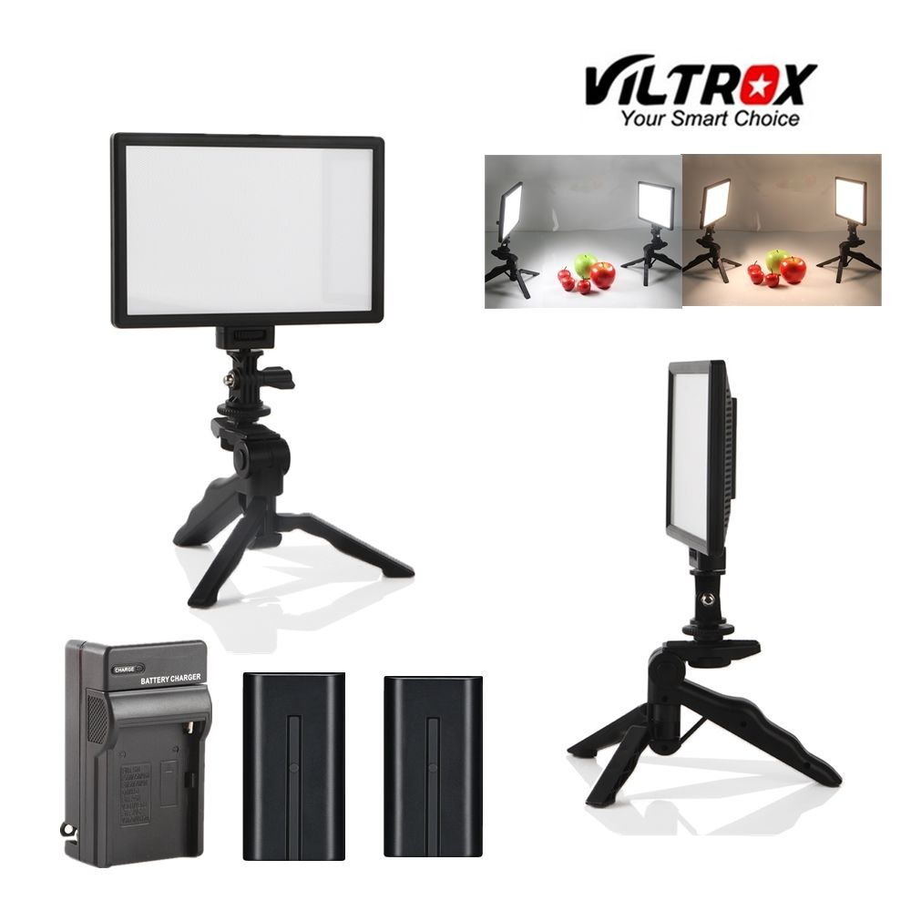 Viltrox 2x L116T Video Studio Camera LED Light LCD Bi-Color Dimmable + 2x Folding Handheld Tripod Stand + 2x battery charger