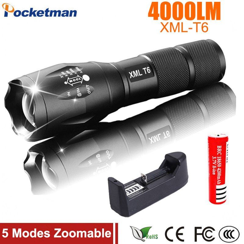 Lanterna XM-L T6 4000LM Tactical Flashlight Torch Zoom Linternas LED Flashlight for 3xAAA or 1x 18650 Rechargeable Battery