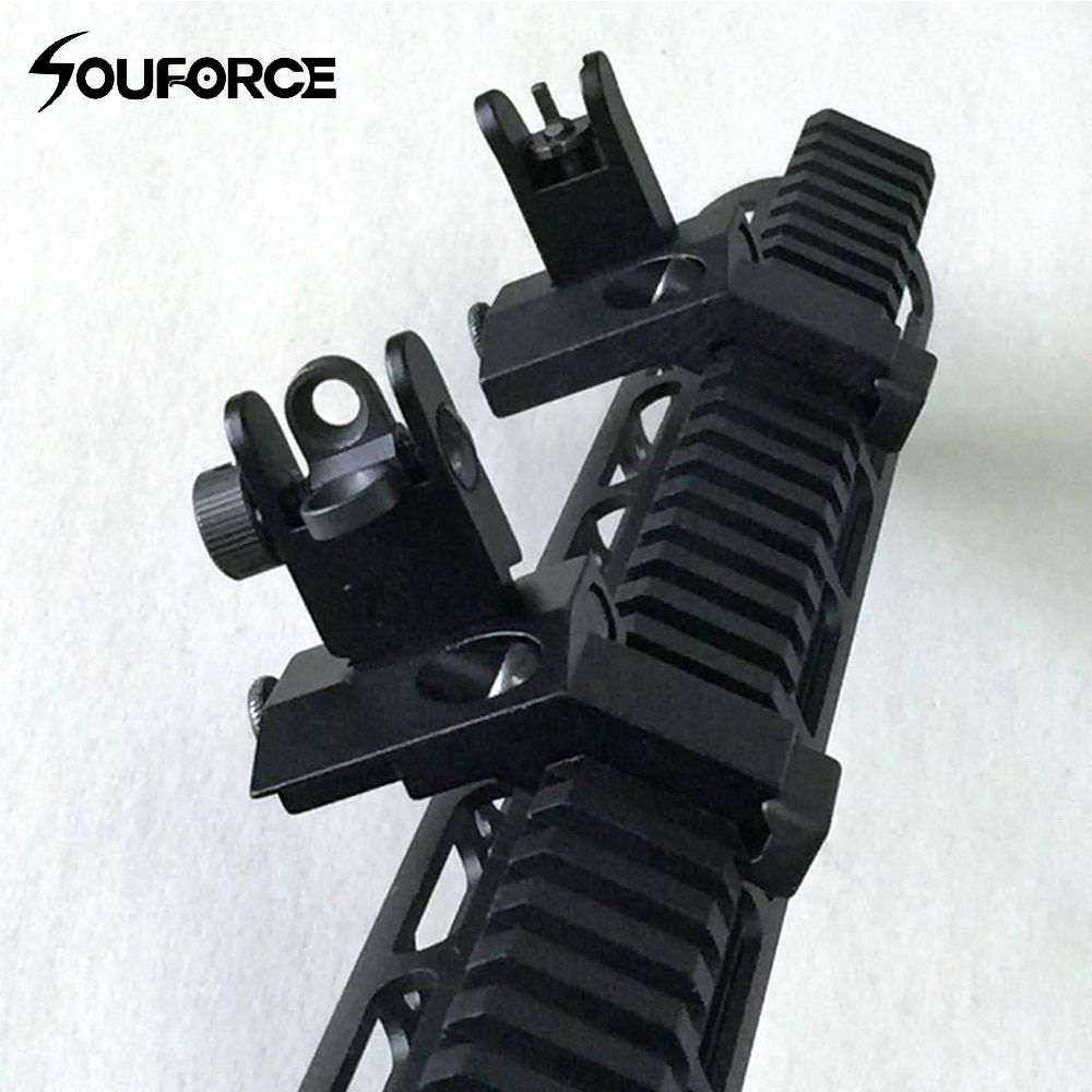 1 Pair Tactical BUIS Front and Rear Side Sight Flip Up 45 <font><b>Degree</b></font> Rapid Transition Iron Sights of Hunting Gun Accessories