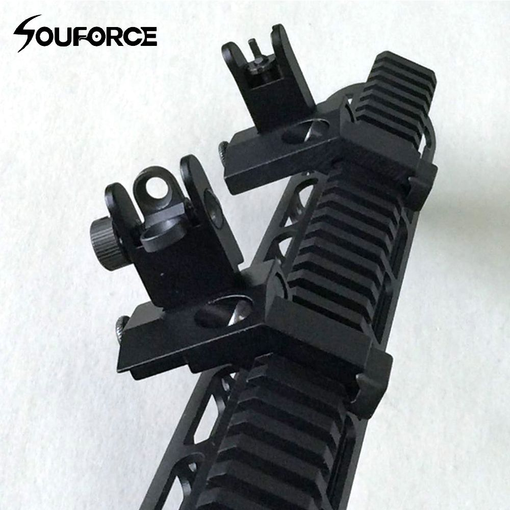 1 Pair Tactical BUIS <font><b>Front</b></font> and Rear Side Sight Flip Up 45 Degree Rapid Transition Iron Sights of Hunting Gun Accessories