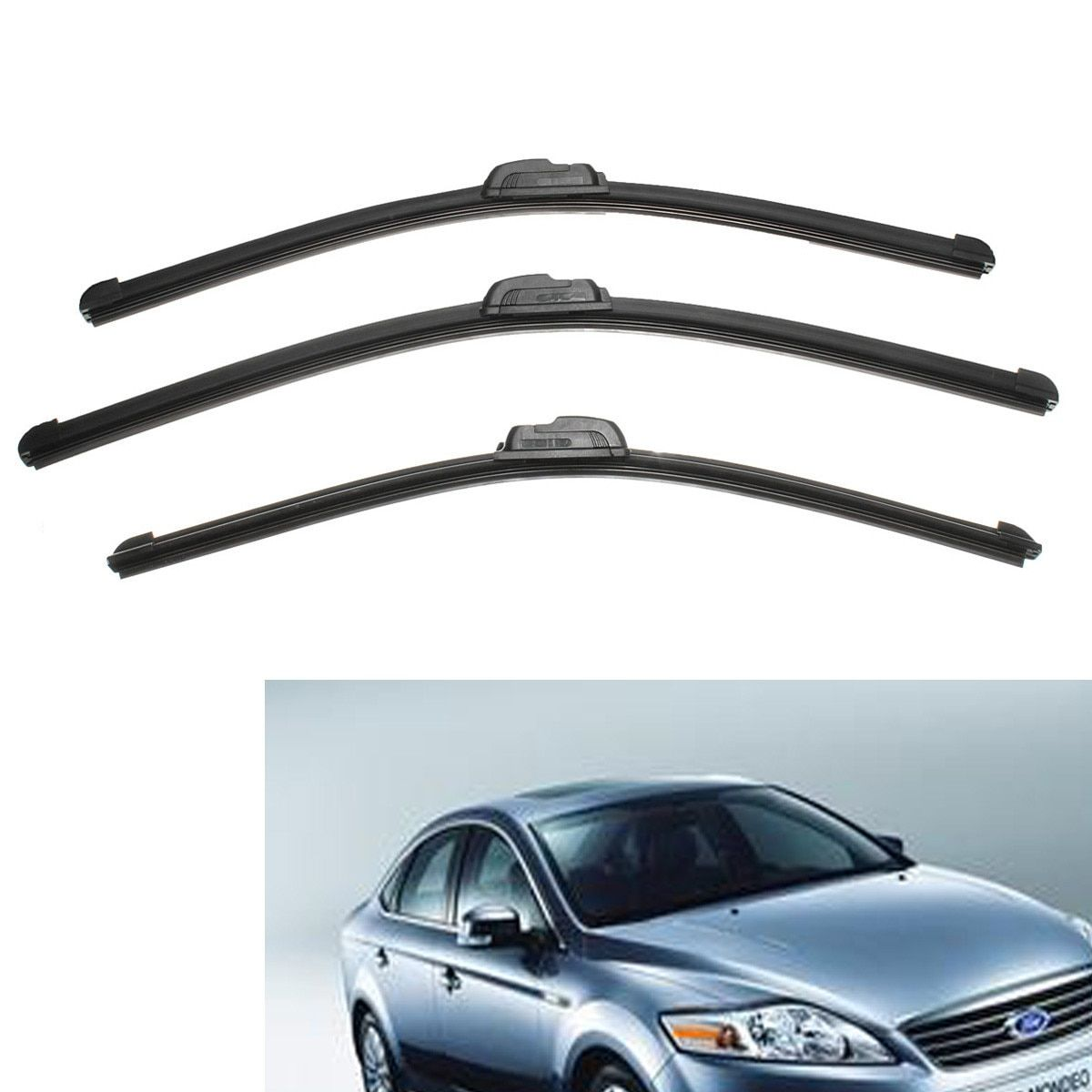 Front Rear Wiper Blade Set Windscreen Windshield For Ford For Mondeo MK3 2000-2007