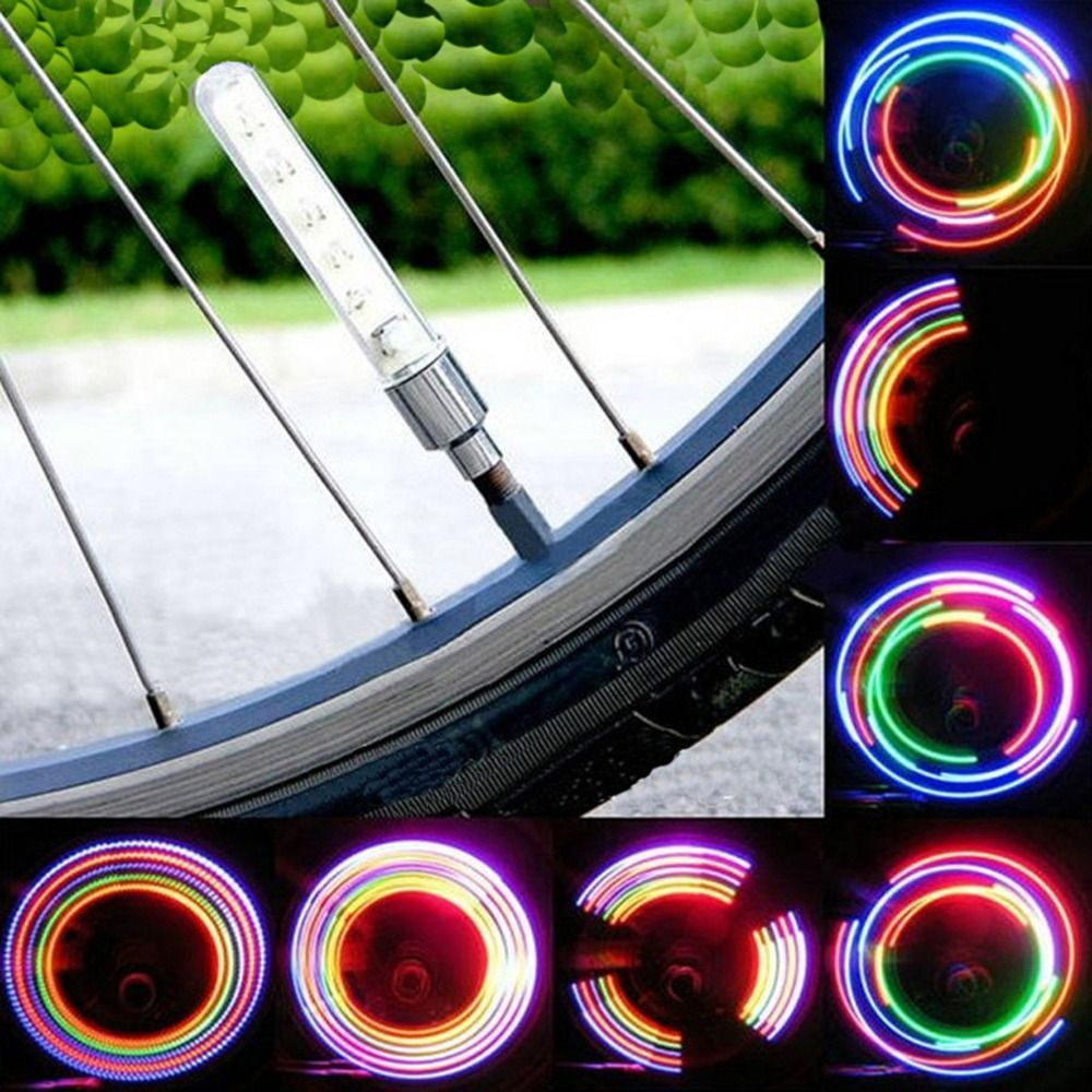 2pcs 5 LED Bike Bicycle Wheel Tire Valve Cap Spoke Neon Light Lamp Accessories 5 LED Flash Light Sense Lamp Drop Shipping