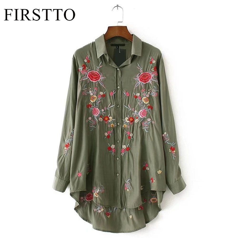 FIRSTTO Ethnic Army Green Rose Floral Print Embroidery Long Sleeve Blouse Shirt Vintage Women Loose Turn-down Collar HI-LO Tops