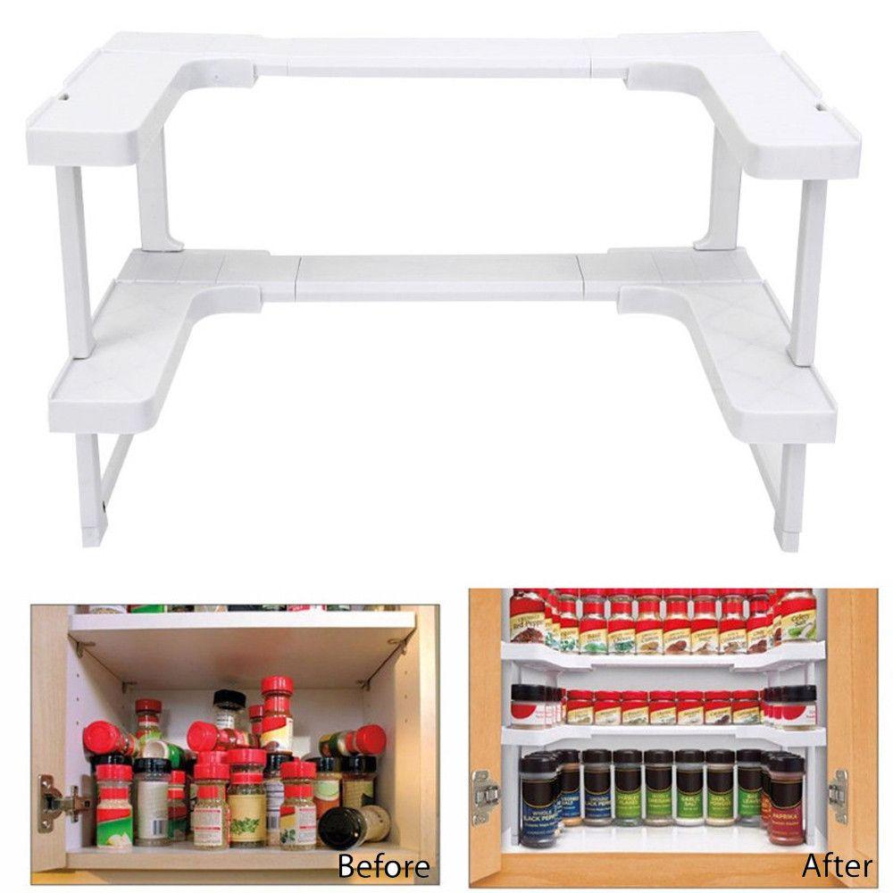 New Multi-function Adjustable Kitchen Bathroom Rack Stackable Storage <font><b>Organizer</b></font> Kitchen Shelving Spice Jar Rack Shelf Accessoriy