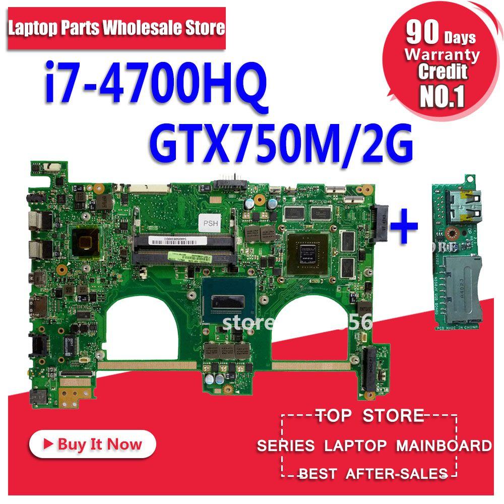 Send board+with i7-4700HQ GT750M 2GB N550JV Motherbord For ASUS G550JK N550JK N550JV G550JV G550J N550J N550JX laptop Mainboard