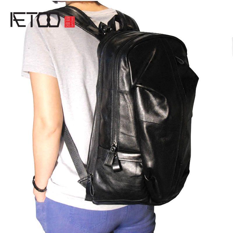 AETOO Mode große abschnitt breite schultergurt importe kuh leder männliche rucksack männlichen tasche bergtasche rucksack