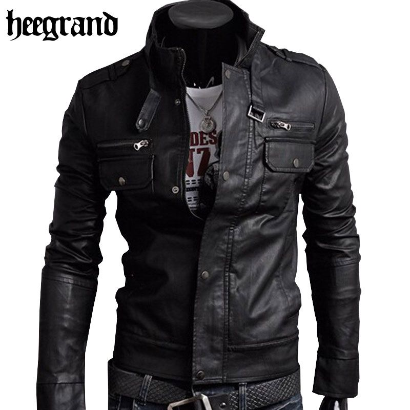 HEE GRAND 2018 Classic Style <font><b>Motorcycling</b></font> PU Leather Jackets Men Slim Male Motor Jacket Men's Clothes MWP148