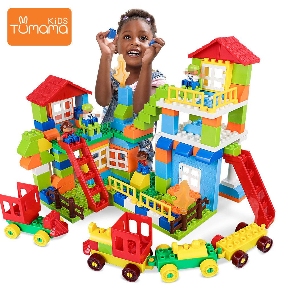 Tumama 76pcs City House Building Blocks Big Size Blocks Castle Robot Educational Toy For Kid Compatible House