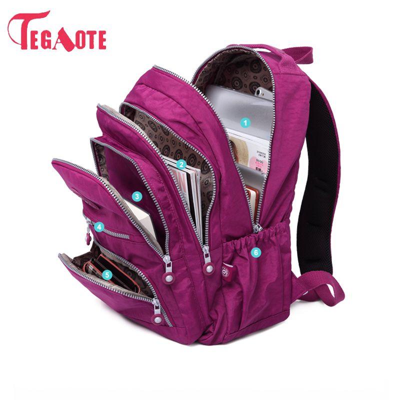 TEGAOTE School Backpack For Teenage Girl Mochila Feminina Women Backpacks Nylon Waterproof Casual <font><b>Laptop</b></font> Bagpack Female Sac A Do